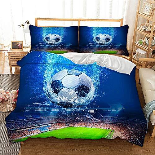 MIUNNG Funda Nórdica 3D Fútbol Estilo Deportivo Los Hombres Niño Super Suave Comodo A Prueba de Polvo Poliéster Impresión de fútbol Ropa de Cama (Fútbol Azul, 150 × 200cm- Cama 90cm)