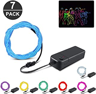 EL Wire, KOMAKE 9ft Neon Lights 7 Pack EL Wire Kit Neon Glowing Strobing Electroluminescent Wire for Halloween Christmas Party Decoration Home (Green, Blue, Red, Yellow, Purple, White, Pink) (7 Color)