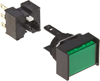 Omron A16-JGM-1 Two Way Guard Type Pushbutton and Switch, Solder Terminal, 16mm Mounting Aperture, Non-Lighted, Momentary Operation, Rectangular, Green, Single Pole Double Throw Contacts