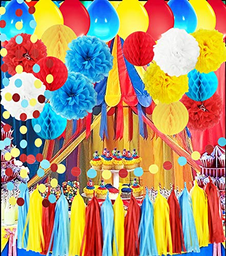 Circus Party Supplies/Carnival Party Supplies Curious George  Birthday/Carnival Birthday Party Ideas/Circus First Birthday Party  Turquoise Red Yellow