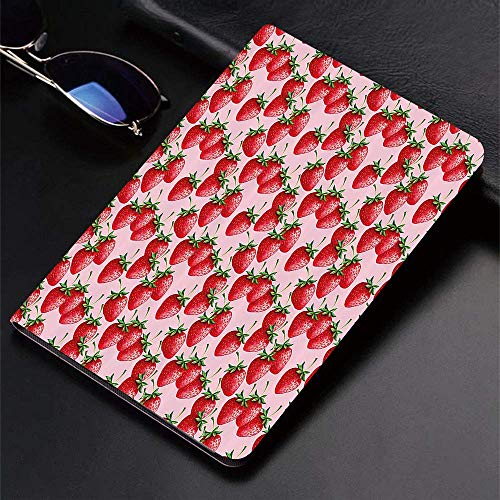 Case for iPad (9.7-Inch, 2018/2017 Model, 6th/5th Generation)Ultra Slim Lightweight Smart Cover,Red,Delicious Big Strawberries on Pink Background Tasty Juicy Sweet Ripe Su,Smart Covers Auto Wake/Sleep