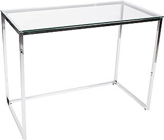 Screen, Mesa de Estudio, Escritorio o Despacho, Mesa de Oficina, Acabado en Cristal y Cromo, Medidas: 100 cm (Largo) x 50 ...