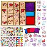 HOWAF Amour Coeur Tampons Autocollants pour Enfants Artisanat Bricolage Enveloppes Cartes Scrapbooking Bonbonnières de Saint-Valentin, 20 Coeur Bois Tampons Encreur, 3650+ Colorés Coeur Autocollants