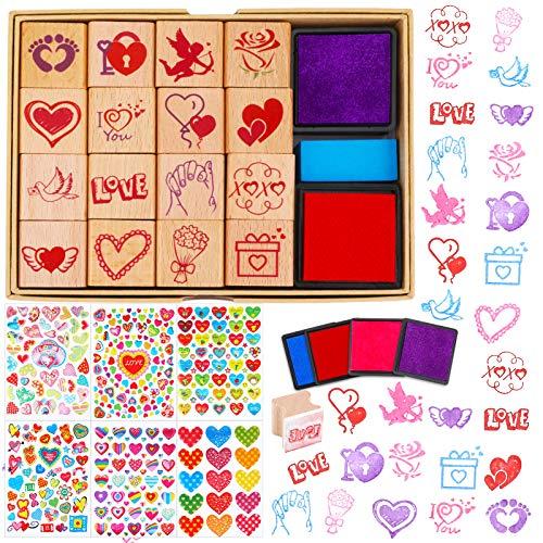 HOWAF San Valentín Corazón Amor Sellos Pegatinas para Niños Manualidades Tarjetas Bricolaje Scrapbooking, 20 Madera Sellos con Almohadilla de Tinta, 3650+ 3D Colores Corazones Pegatinas