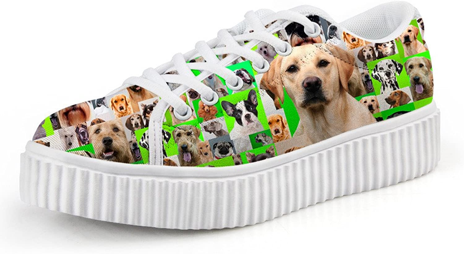 Chaqlin Women shoes Flat Platform shoes 3D Dog Puzzle Female Casual Thick Creepers shoes