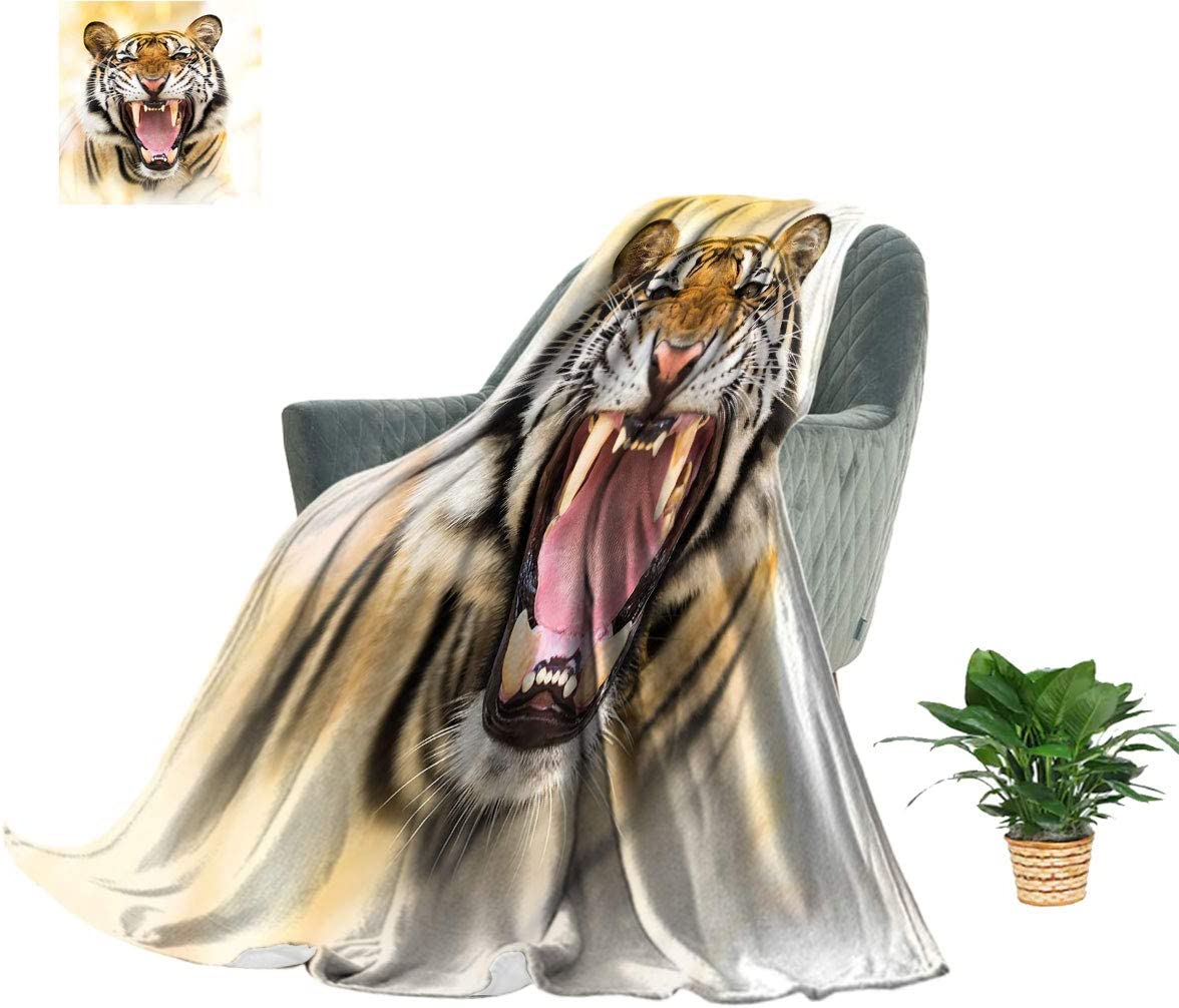 Hydaprint Angry Tiger Flannel Throw Ranking TOP19 Young Size Outlet sale feature Panthera Blanket