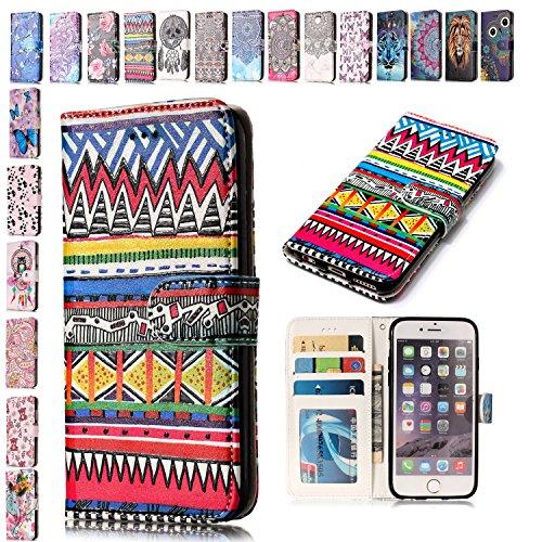 E-Mandala Custodia Cover Apple iPhone 5 5S SE Pelle aLibro Flip Case Portafoglio ModelloDisegni Silicone Antiurto Morbido Bumper - Modello Tribale