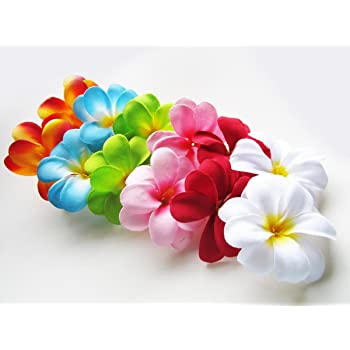 Hawaii Luau Party Artificial Fabric Single Orchid Hair Clips in