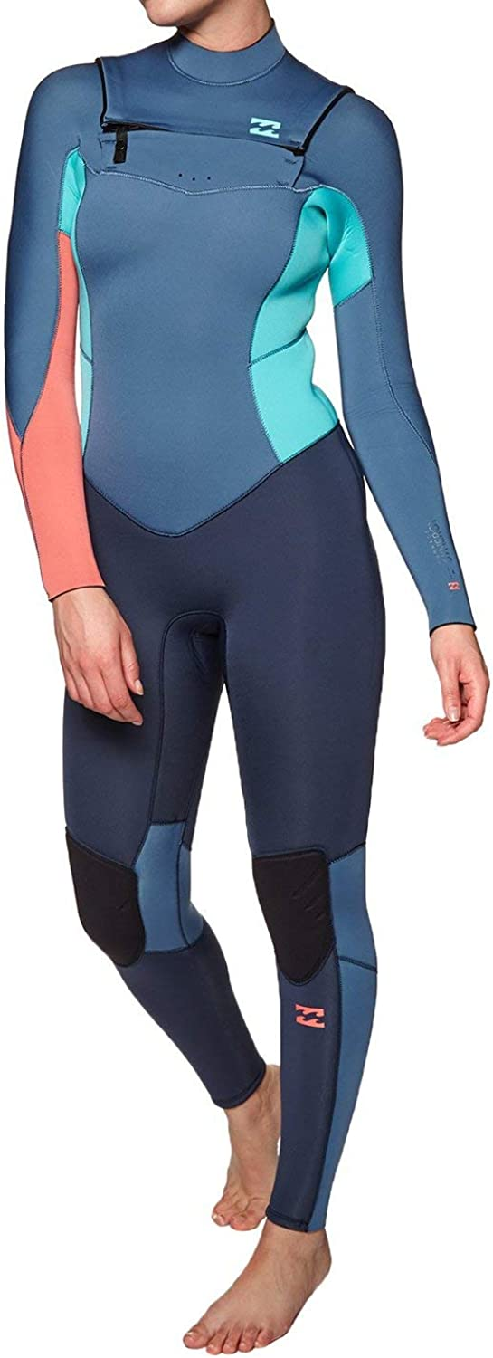 BILLABONG Damen Furnace Synergy 4 3 MM Chest Zip Wetsuit Slate - Easy Stretch Thermal Ofenausfütterung Dry