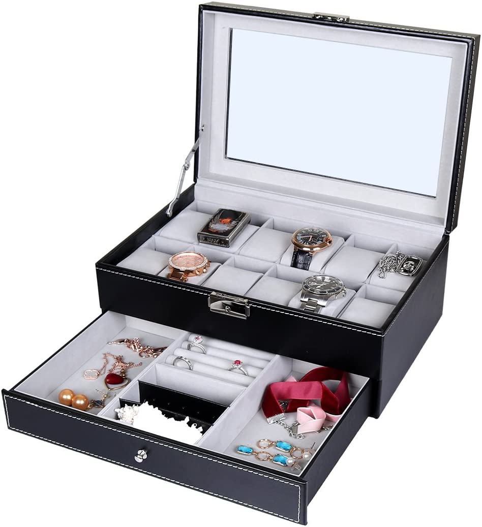 Los Angeles Mall Goetland PU Max 55% OFF Leatherette Watch Display Lockable Case Jewelry Box
