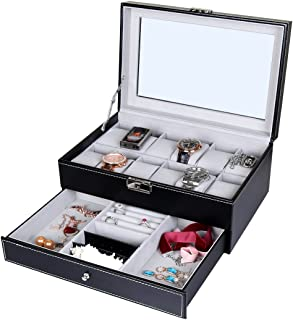 Goetland PU Leatherette Watch Display Box Jewelry Case Lockable, 12 Watch Slots & 3 Large Jewelry Grids