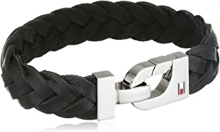 Tommy Hilfiger Men's Stainless-Steel and Black Thick Braided Leather Bracelet, 20.5 cm