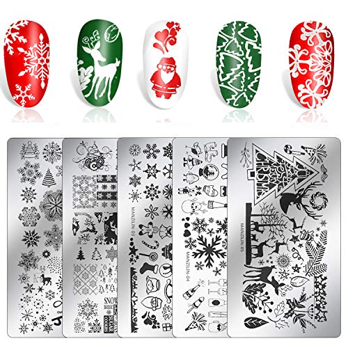Konsait 5 Pack Christma Nail Stamping Plate, Stainless Steel Nail Art Design Template Square Plates Stamp Kit,Image Stamp Templates Stamping Kit, Manicure Stencils Tool Set for Manicuring DIY