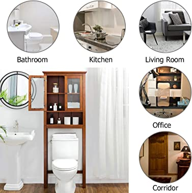 Glitzhome 68.25 Inch Wooden Bathroom Floor Storage Cabinet Multifunctional Cabinet with Glass Double Doors and Adjustable She