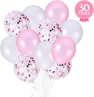 Pink and White Confetti Party Balloons – Pack of 30   Light Pink, White and Confetti Latex Balloon Decorations Supplies   Great for Birthday Party Décor Backdrop, Baby Bridal Shower, Wedding   12 Inch