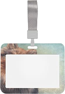 Porte-badge 4x3 Chien de dessin horizontal Portrait de Poméranie allemande Peinture à l'huile Protecteur de porte-cartes 4...