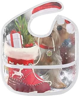 Waterproof Baby Bucket Bib with Adjustable Strap, Plastic Free, Wipe Clean, Merry Christmas