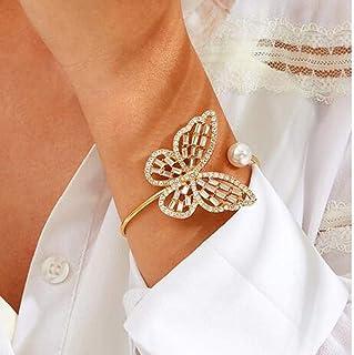 YERTTER Dainty Butterfly Pearl Bangle Gold Open Bangle Bracelet Female Hand Jewelry for Women Bracelets Jewelry Gift for T...