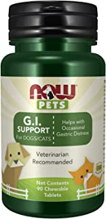 NOW Pet Health, G.I. Support Supplement, Formulated for Cats & Dogs, NASC Certified, 90 Chewable Tablets