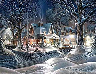 Winter Scene Snowy Houses Trees Christmas Edible Cake Topper Image ABPID05600 - 1/4 sheet