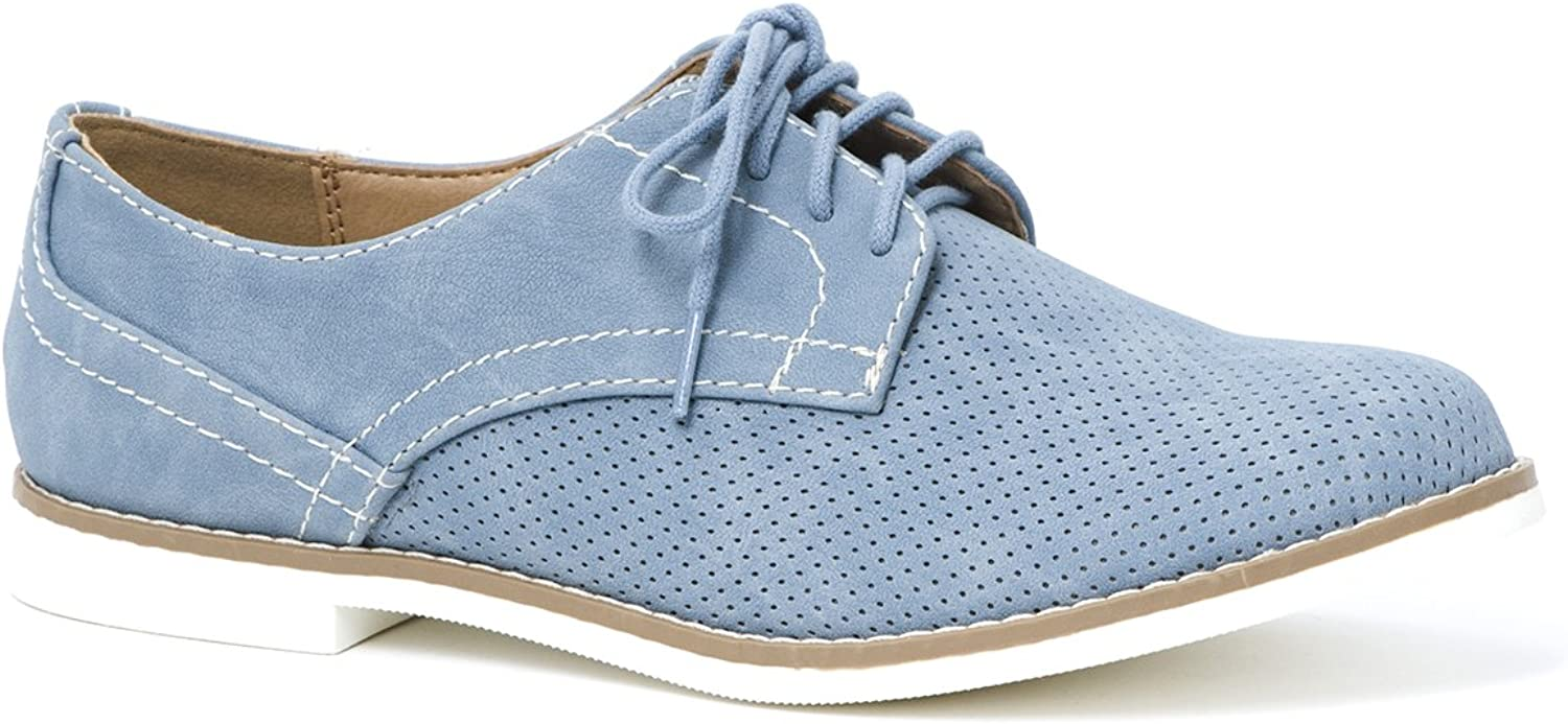LUSTHAVE Women's Cooper Lace Up Oxfords Flats Sneakers