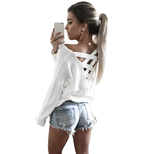 61e65972c3 Yingkis Women s Cut Out Loose Pullover Criss Cross Backless Sweater Shirt  Top