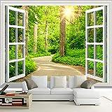 QHDHGR Foto Mural Pared 3D Patrón de ruta de ventana Fotomurales Hd Moderno Impresión Del Arte Oficina Tv Decoracion De Fondo 250 x 175cm(anchura x altura)
