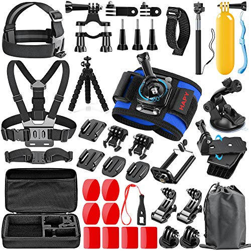 HAPY Sports Action Professional Video Camera Accessory Kit for GoPro Hero 8 6 5 Black, Gopro Max,Hero Session,Hero (2018),HERO7, 6,5,4,3,3+, GoPro Fusion,SJCAM,AKASO,Xiaomi,DBPOWER,Camera Kit