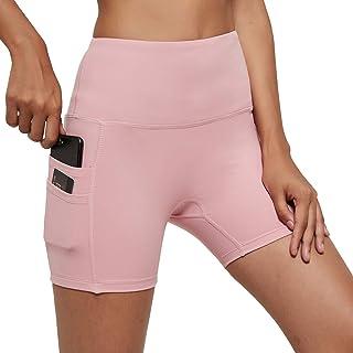 USHARESPORTS Biker Shorts for Women High Waist Yoga Workout Bike Shorts with Pockets Spandex Gym Running Shorts for Womens