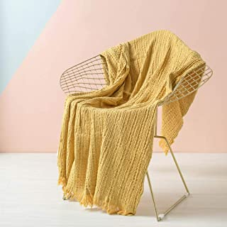 SIMPLEOPULENCE Simple&Opulence Cotton Throw Blanket Waffle Weave Cable Knit Woven with Tassels Solid Cozy Blanket Scarf Shawl Farmhouse Decoration (Yellow)