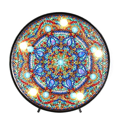 Tuankayuk DIY diamante pintura luz LED luz decorativa DIY LED diamante pintura Mandala Vollbohrer Sonderform luz Wohnkultur 1#