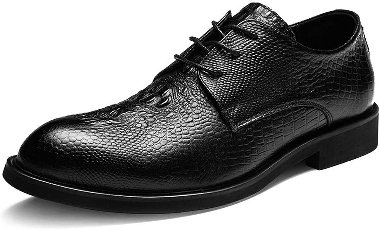 Soft Men's Men's Leather shoes Business Dress Men's shoes Men's Leather shoes with Round Head Casual shoes Cortical (color   Black, Size   44)