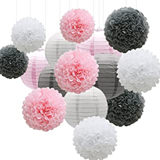 KAXIXI Hanging Party Decorations Set, 15pcs Pink Gray White Paper Flowers Pom Poms Balls and Paper Lanterns for Wedding Birthday Bridal Baby Shower Graduation