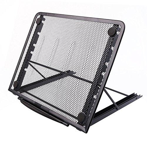 Soporte para portátil o monitor, diseño ajustable y con ventilación de malla, 24x 19cm negro negro