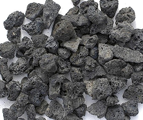 Black Lava Rocks for Fire Pit, 1 Cu Ft, (35 to 40 pounds). Naturally Formed Volcanic Rock Mined in the USA. Varies In Size From 1/2' to 1 1/2'