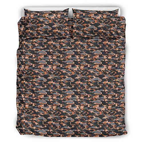 Bohohobo Conjuntos Retro 3 Piezas Almohada Gráficos Camuflaje Suave Coverlets Estilo Europeo Color Oscuro Decorativo Cama Almohada Conjunto Blanco 229x229cm