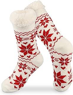 Slipper Socks, Super Soft Warm Cozy Fleece Lined Socks Non Skid Fuzzy Socks for Women Girls Men Christmas