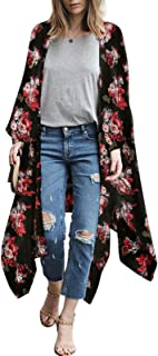 Women Floral Kimono Sheer Chiffon Cardigan 3/4 Sleeve Cover Up Long Blouse Outwear