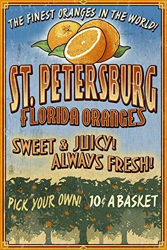 St. Petersburg, Florida - Orange Grove Vintage Sign (9x12 Art Print, Wall Decor Travel Poster)