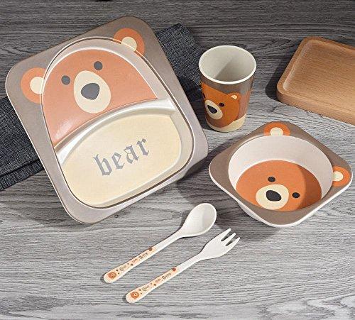 FJM Fiber Bambou Enfants Créatifs Coutellerie Manger de la Nourriture Supplément Grille Grille Table Set Fourchette Cuillère Cuillères,B