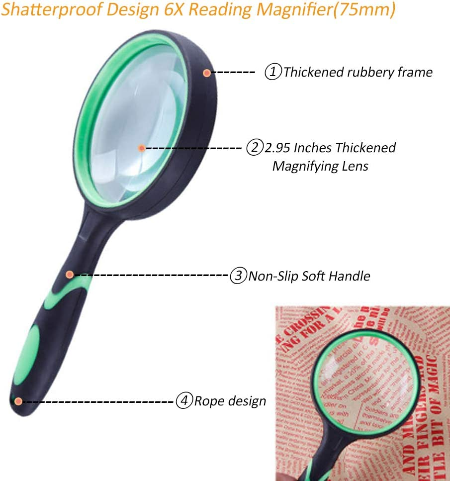 3 Pack Handheld Magnifying Glass Authentic 10X Reading Magnifier ...