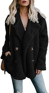 Alicegana Women's Autumn and Winter New Lapel Pocket Suit Collar Plush Button Fuzzy Coat Jackets