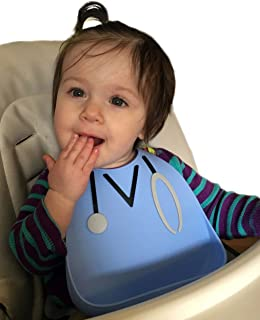 Soft Waterproof Silicone Bib - BPA Free - LFGB Platinum Silicone - Waterproof Silicone Bib with Food Catcher Pocket