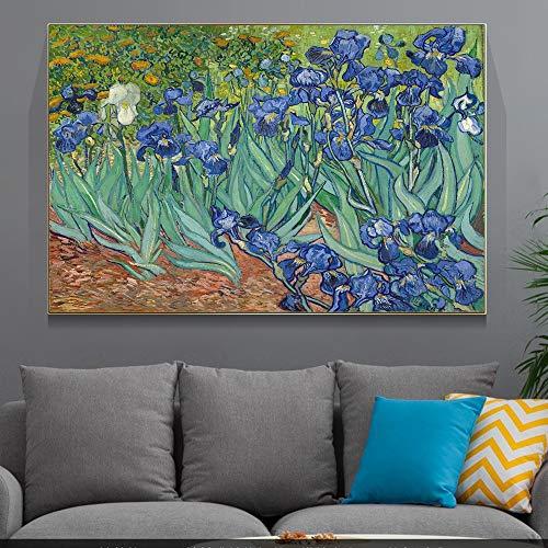 JXFFF Handgemalt DIY(40x60cm Kein Rahmen) Irisölgemälde von Van GoghMalen Nach Zahlen Van Gogh SonnenblumeMalen Nach Zahlen Erwachsene