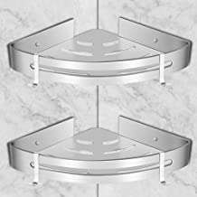 VINFUTUR Mensola Angolare Doccia Senza Foratura Stoccaggio Portaoggetti da Bagno Scaffale Angolo Angoliera Triangolare con 4 Ganci Autoadesivi in Lega di Alluminio