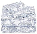 Pinzon 170 Gram Flannel Cotton Bed Sheet Set, Twin XL, Navy Paisley