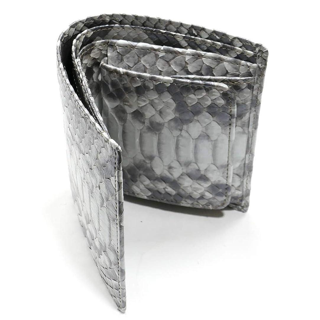 ビート農村ラップHAFB1004-SILVER パイソン 二つ折り財布 ボックス型 小銭入れ付 ハーフブリーチ シルバー