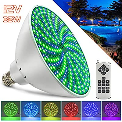 GreeSuit AC12V 35W LED Pool Lights Bulb, RGB Color Changing Swimming Pool Light Bulb for Pentair and Hayward Fixture, Underwater Light Fixture E26/E27 with Remote Control