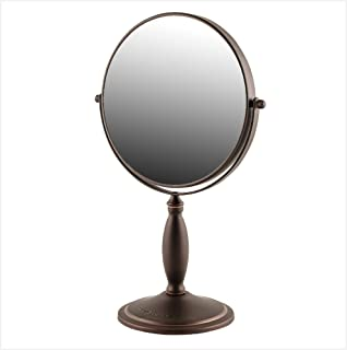 Ovente Table Top Makeup Mirror 8 Inch 1X 7X Magnifier Circle Standing 360 Degree Double Sided Pivot Portable Detachable Di...