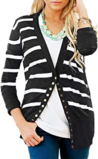 Faatoop Women's V-Neck Button Down Knitwear Long Sleeve Striped Soft Basic Knit Snap Cardigan Sweater